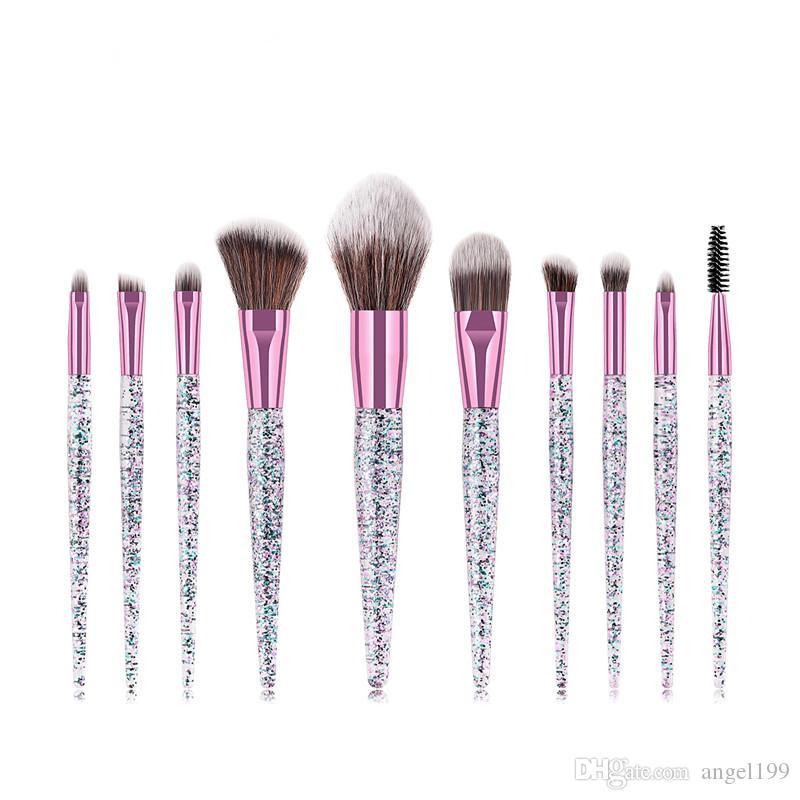 DHL Free shipping 10pcs Makeup Brushes Set High Quality Makeup Brushes Set Sequins Quicksand Makeup Brushes Set