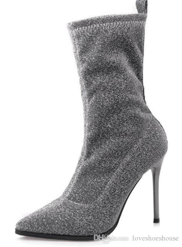 2018 nuove donne bling stivali slip on stivaletti donna stivaletti tacco sottile calzino stivali signore punta a punta stivali rossi nastro mujer botas