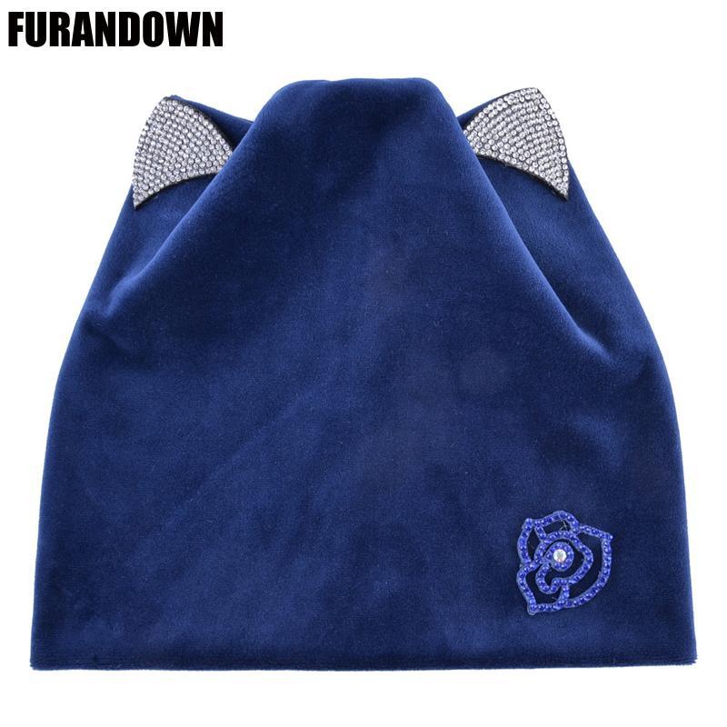 Autumn Women Knitted Winter Cat Ears Cap Rhinestone Beanies For Ladies Warm Soft Velvet Flannel Hats For Girls D18110102