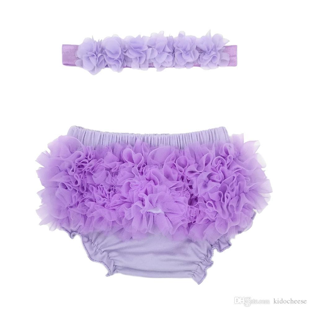 3 Colors Hot Selling Baby Girl Ruffle Bottom Chiffon Bloomer & Headband Set for Newborn Photo Set Diaper Cover