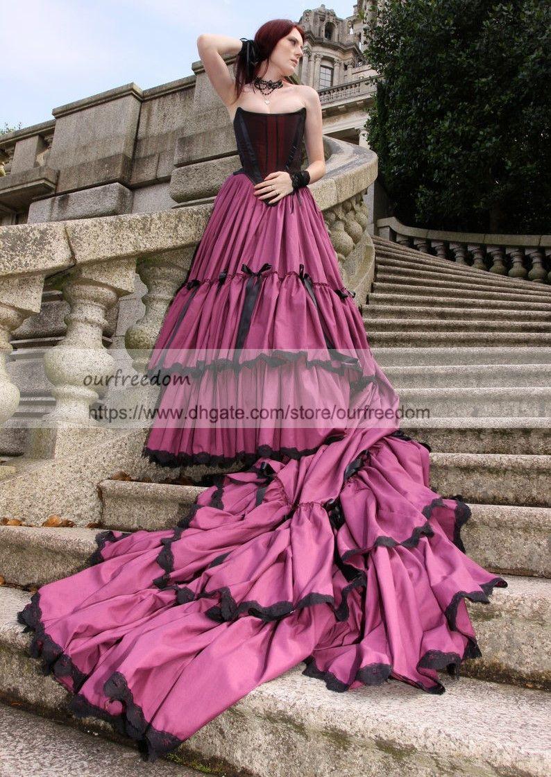 Compre 2018 Vestidos De Novia Sin Tirantes Góticos Con Cremallera ...
