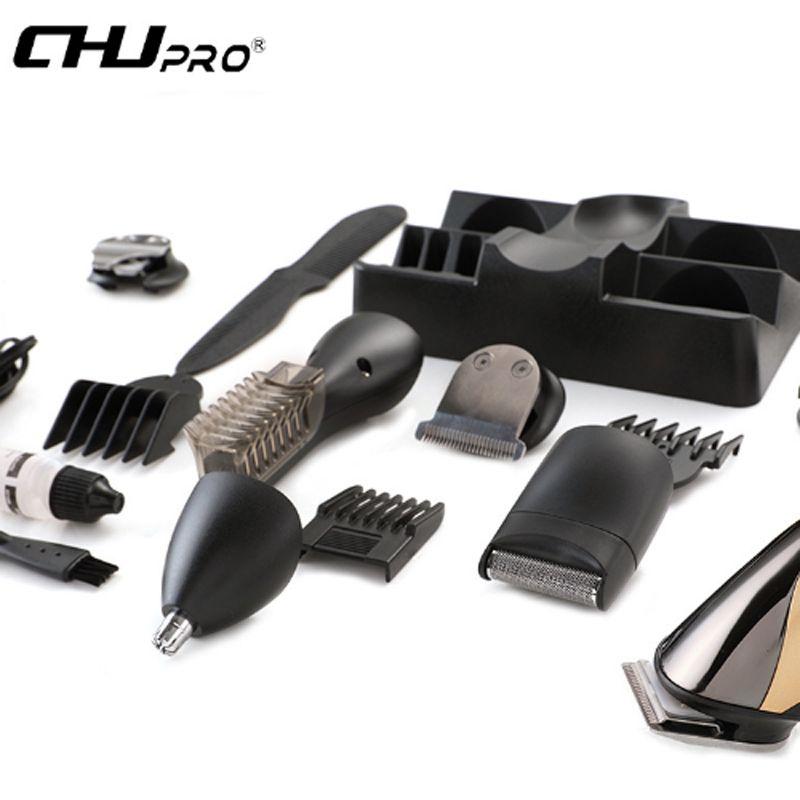 CHJPRO 7 в 1 Оригинальный аккумуляторная электрическая мужская бритва Бритва волос нос борода сторона триммер набор ЕС plug машинка для стрижки волос