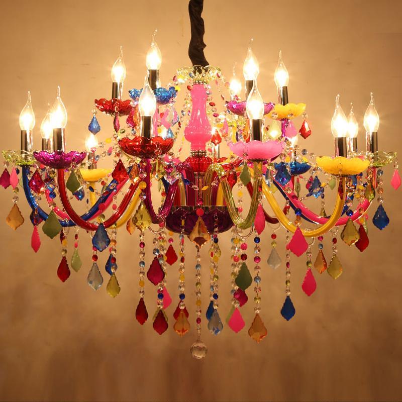 Lustres modernes LED Crystal Lighting Bohemia Lustre coloré lustres de cristal Lampes décoratives Lampe suspension
