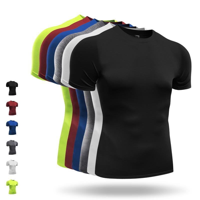 2018 Szybka sucha koszula kompresji krótkimi rękawami T shirt odzież fitness Solid Colorquick Suche Bodybuild MMA Crossfit
