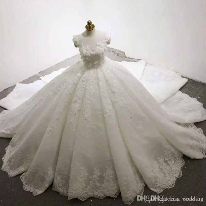 Tren de lujo vestido de bola vestidos de novia apliques de lacel más el tamaño de pura joya vestidos de novia princesa de marfil vestidos de novia de la novia robe de mariée