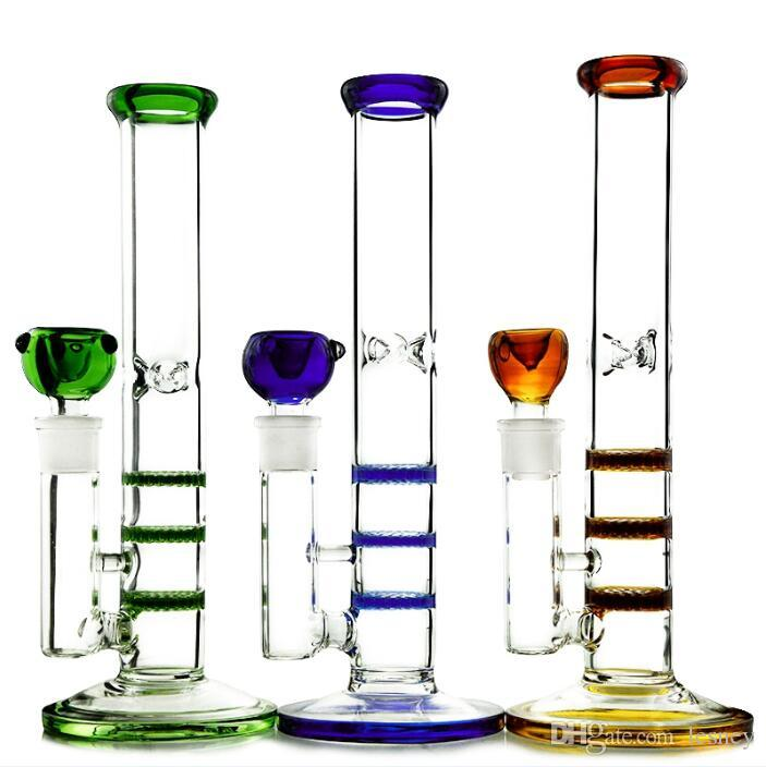 DHL Shipping Straight Tube Bong Triple Honeycomb Perc Percolator Oil Dab Rigs Colorful Heady Glass Green Blue Amber Color Water Pipe Bongs
