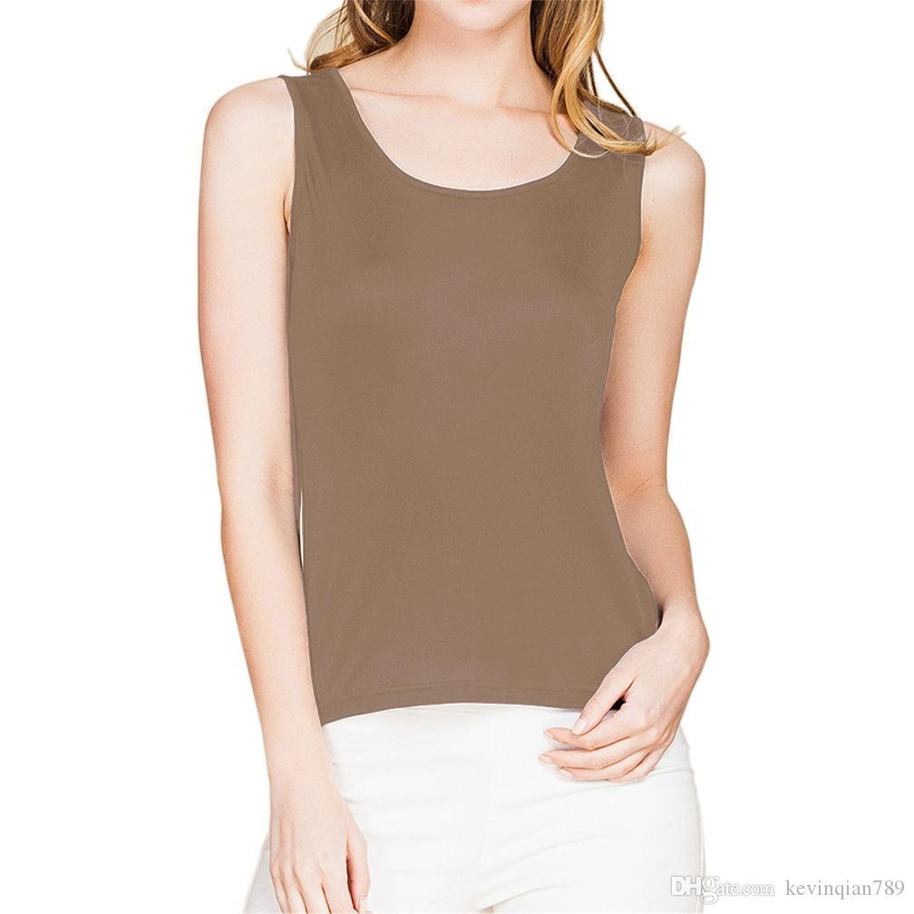 Canotta da donna senza maniche in maglia a maniche lunghe 100% seta M L XL XXL