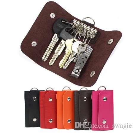 Regali di moda Porta chiavi Custodia organizer in pelle verniciata con fibbia portafoglio chiave portachiavi auto per donna Uomo marca spedizione gratuita