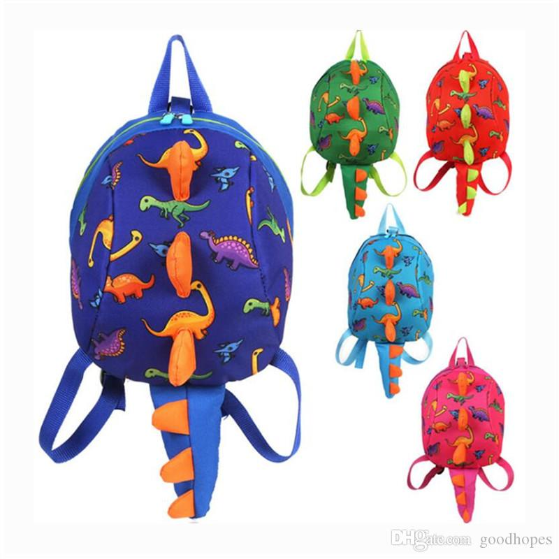 Anti Lost Kids Backpack Cute Cartoon Dinosaur Animal Print Children Backpacks Boys Girl Kindergaden Schoolbag Baby Shoulder Bag