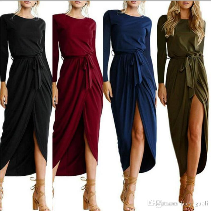 Sexy Summer Dress Lady Outfit High Split Casual Long Maxi Dress Long sleeve dress Solid Women's Retro Dresses With Belt Vestidos Plus size