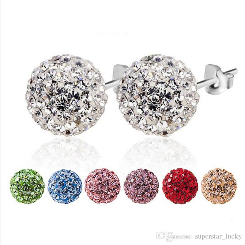 Fashion Accessories S925 Pure Creative style Silver Diamonds Ear Studs Seven Color
