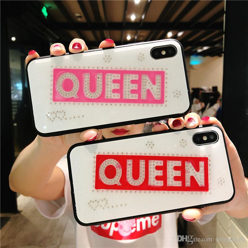 Bling Bling Diamond Funda con tapa trasera Glitter Queen Stylish Lady Phone Shell para iPhone X 10 6s 7 8 Plus