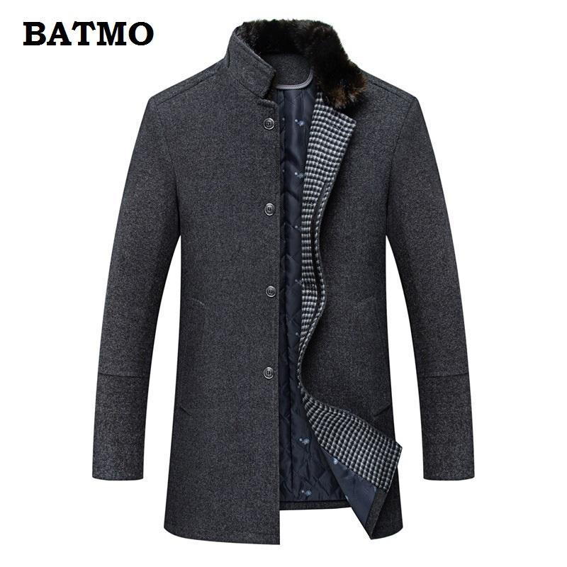 BATMO 2018 nueva llegada de invierno de lana de alta calidad engrosada cálida gabardina hombres, chaquetas de lana de invierno de los hombres, parkas hombres