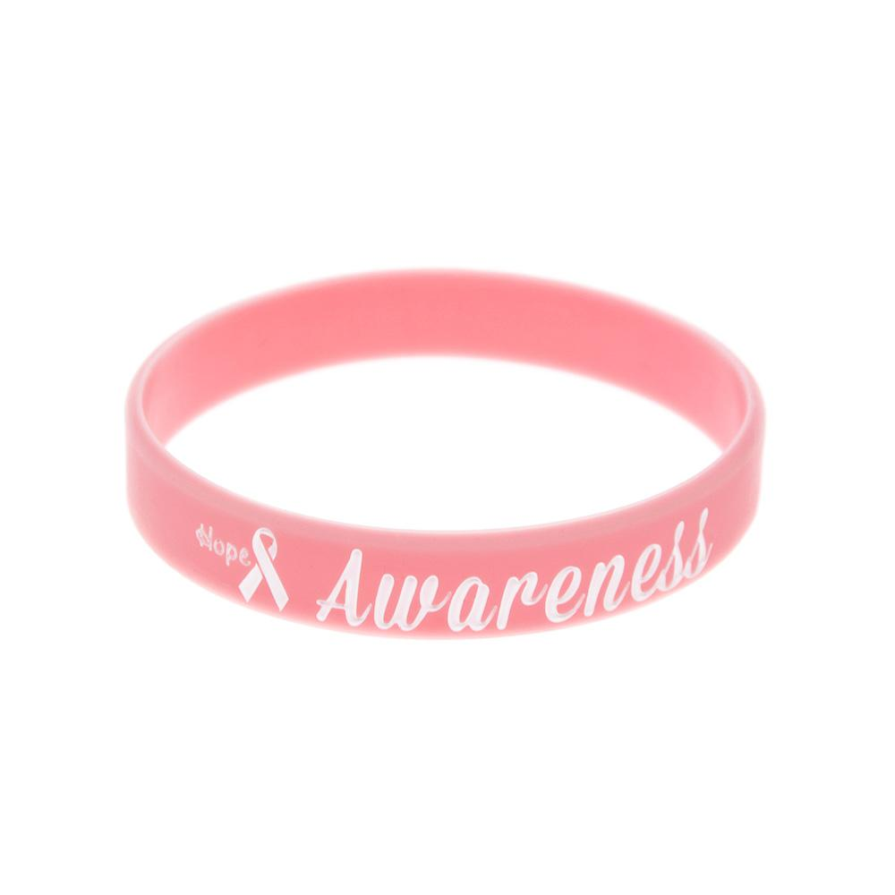 100PCS Pink Hope Ribbon Breast Cancer Awareness Silicone Wristband A Great Way To Show Your Support