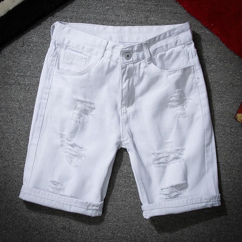 Jeans Shorts Moda Fina Buraco Thin White Preto Denimshort calças masculinas Verão YuWaiJiaRen