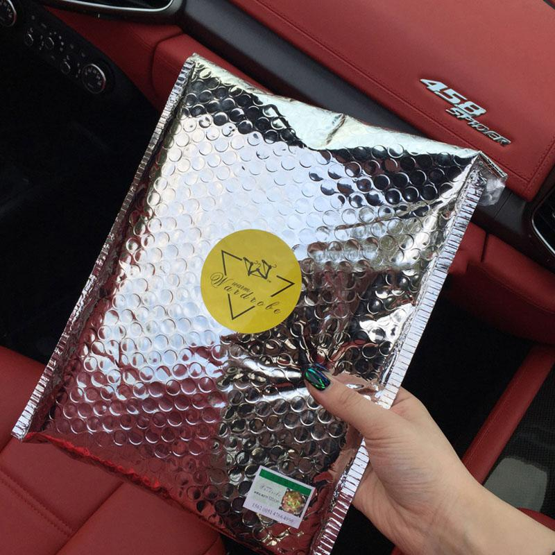 10 adet Aluminzing uzay Poli mor kabarcık çanta Mailer Su Geçirmez Posta zarflar birthdays Parlak yüzey hediyeler çanta 18x23 cm