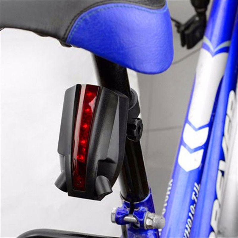 STOCK 2 Laser+5 LED Rear Bike Bicycle Tail Light Beam Safety Warning Red Lamp