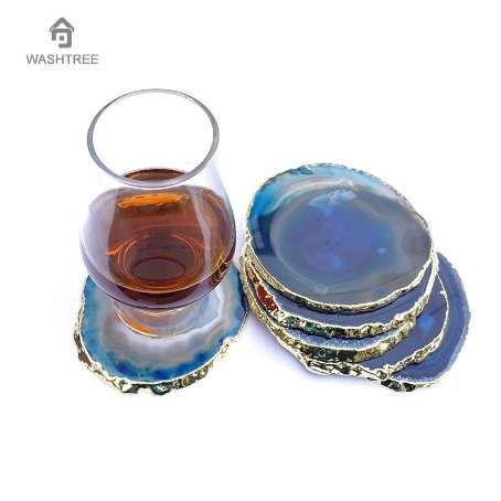 1 unids Golden Agate posavasos ORO o PLATA Edge Cup Mat piedra Natural Drink posavasos bebidas en rodajas para bebidas regalo