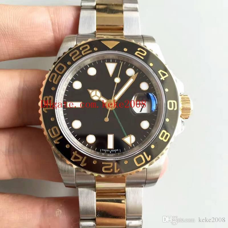 Melhor Edição Relógios De Pulso N Fábrica V7 18 K Ouro Envolto 40mm GMT 116713 LN 116713LN Suíça ETA 3186 Movimento Automático Mens Watch Relógios