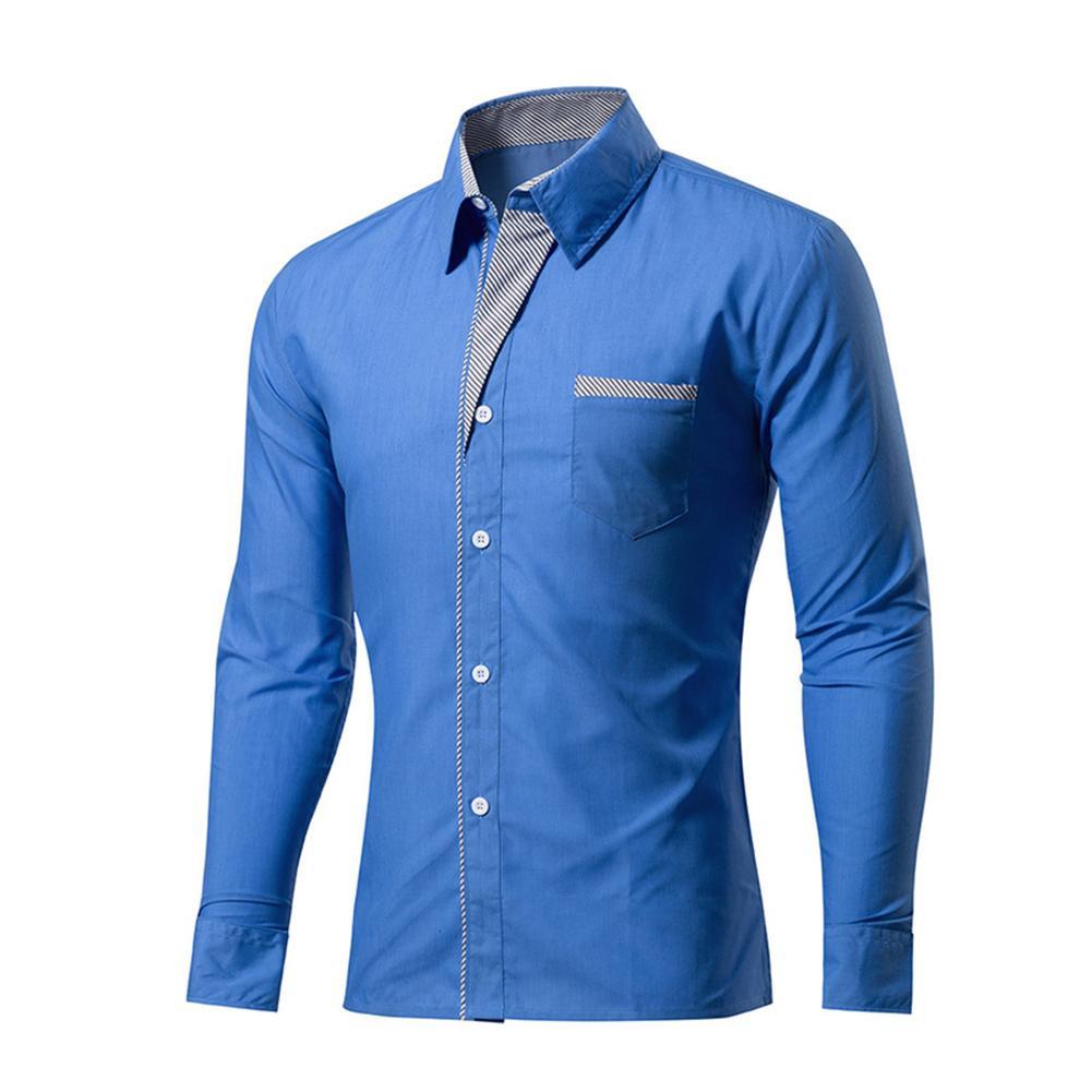Men'S Casual Shirts Fashion Long Sleeve Shirt Men Korean Slim Design Formal Single Breasted Size Plus 3Xl Men Blue Hot Shirts