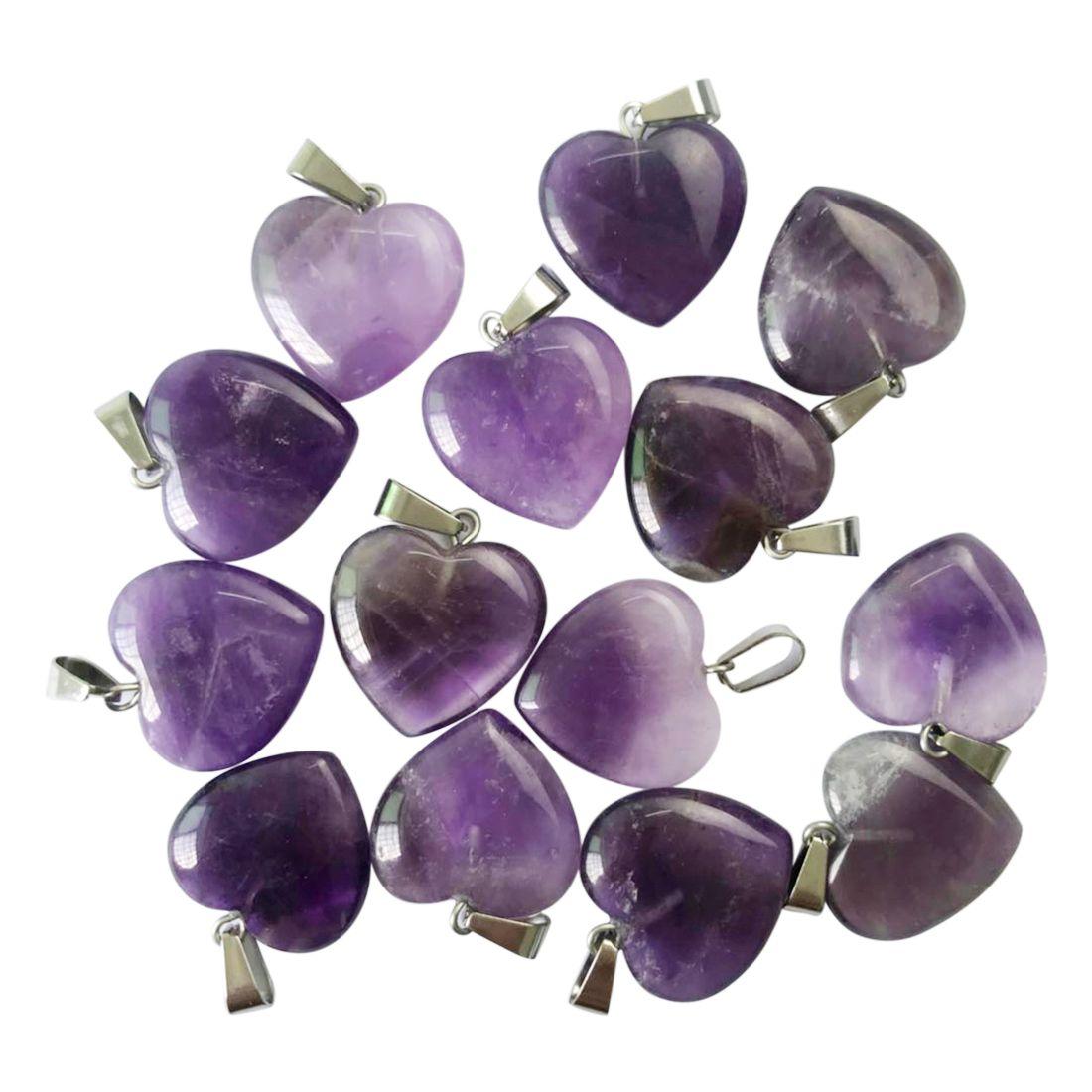 Venta al por mayor de buena calidad amatista natural piedra en forma de corazón colgante pendiente de la joyería collar colgante de moda encanto 50pcs / lot