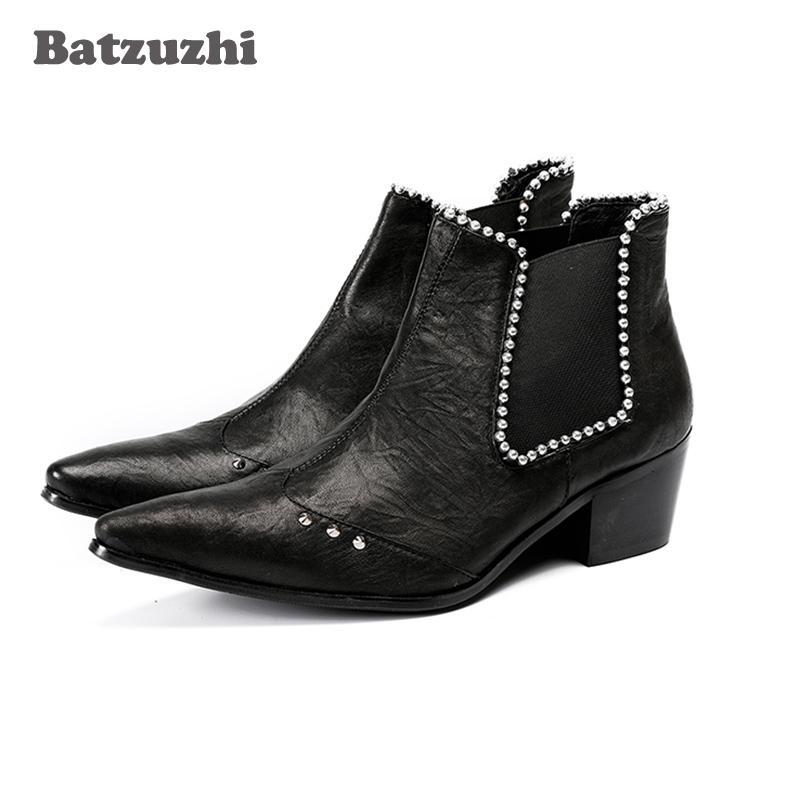 NOVITÀ scarpe 6.5 centimetri Stivali tacco Uomo scarpe a punta in pelle nera Stivaletti in pelle con cristalli Scarpe uomo partito scarpe Botas Hombre, US12 EU46