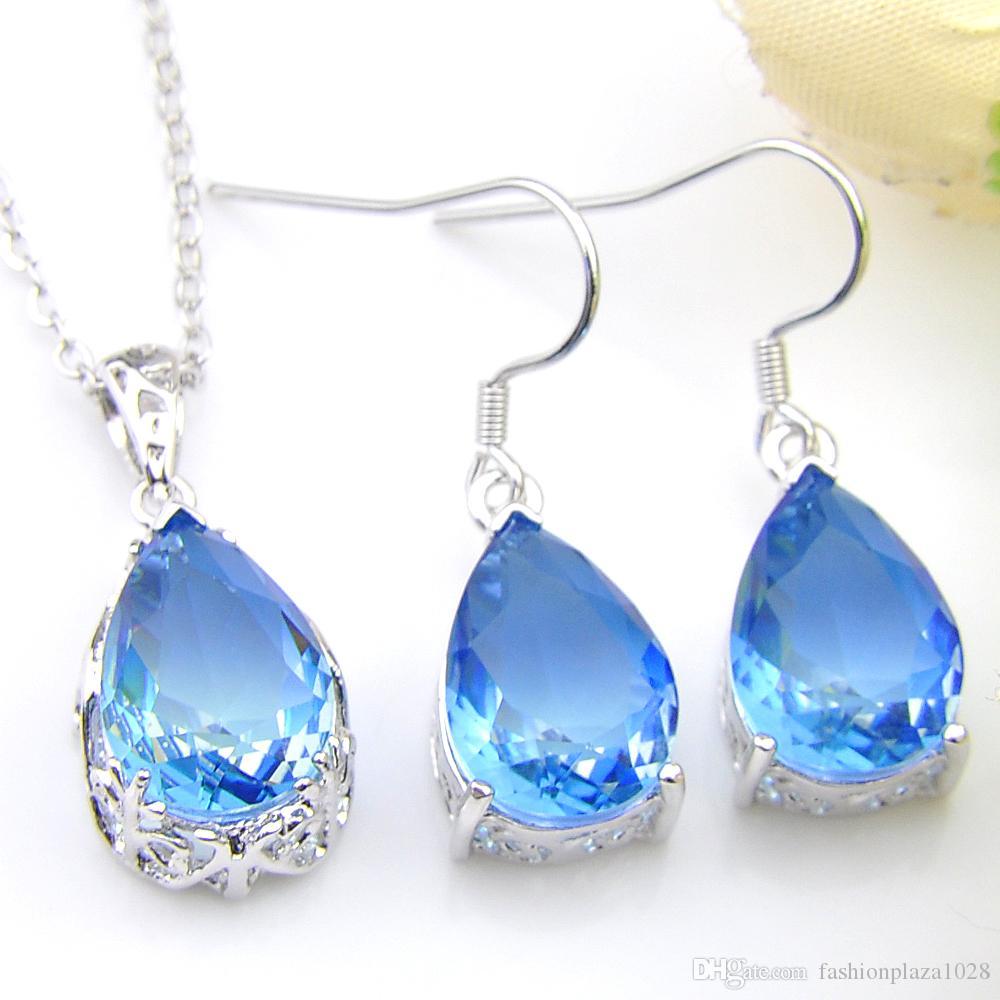 Gioielli di moda Top Teardrop 5 insiemi / lotto Blu Tourmaline Orecchini pendenti di collana in argento per le donne Nozze Engagemets