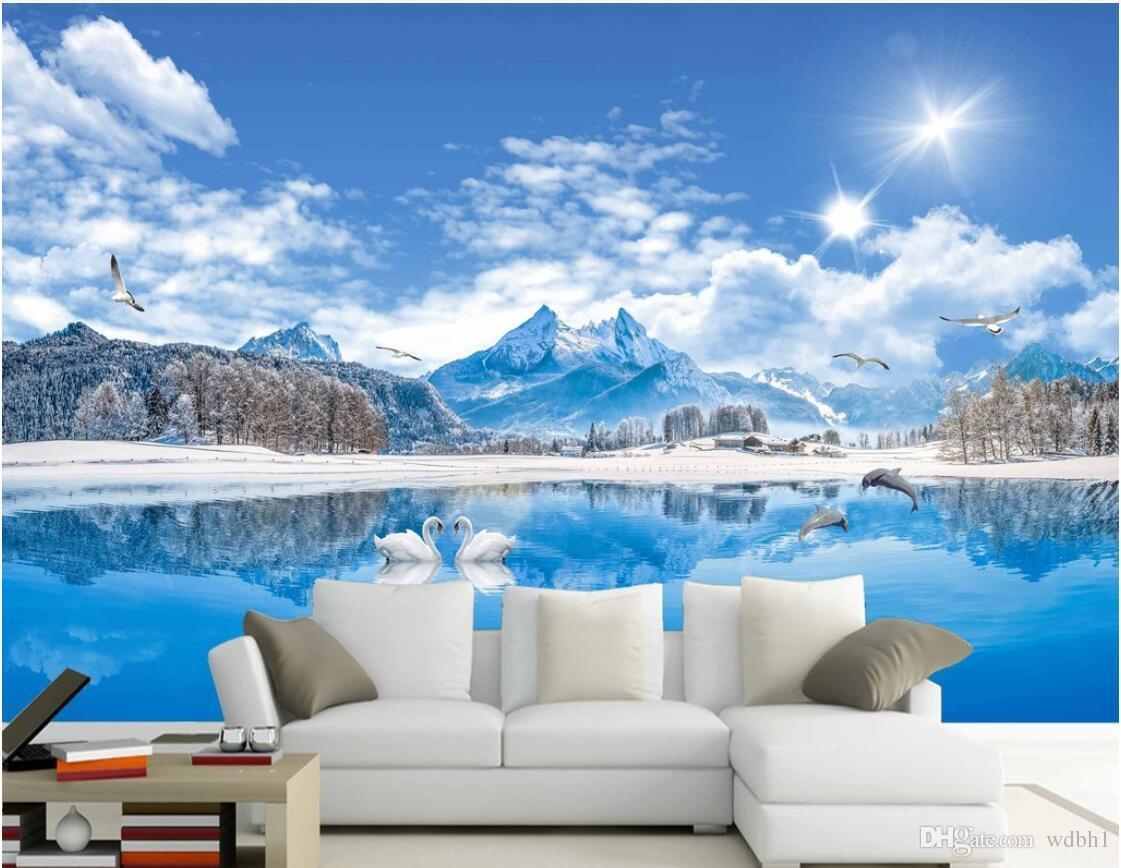 3D 벽지 사용자 정의 사진 벽화 HD 레이크 뷰 백조의 호수 아름다운 풍경 그림 스노우 마운틴 리빙 벽화 벽지 벽 3 d