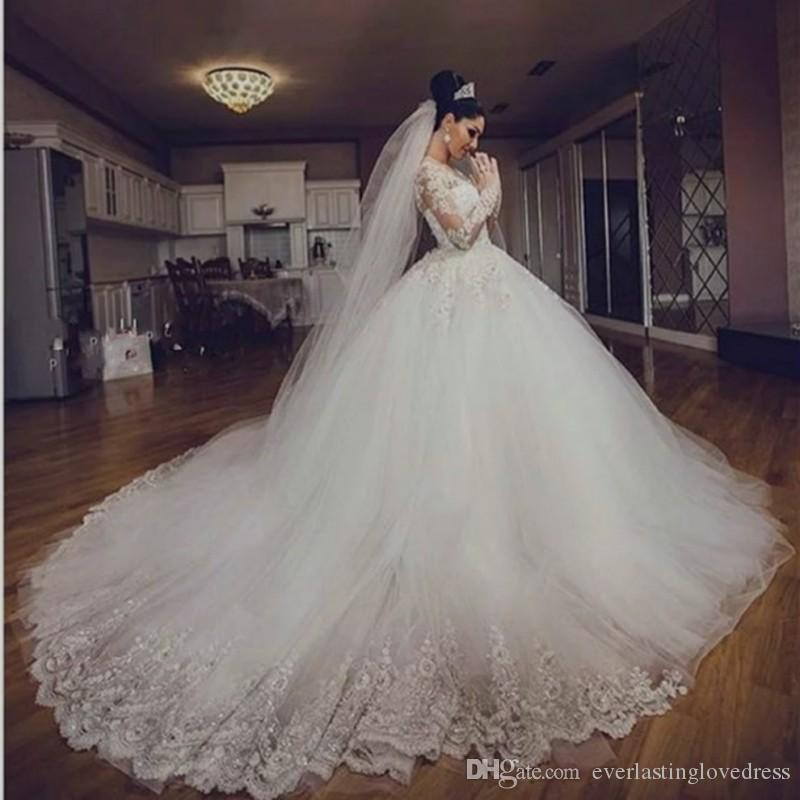 Jewel Neck Lace Appliqued Long Sleeves Ball Gown Wedding Dresses Rosa Clará Vestidos De Novia Corte Princesa Cotton Wedding Dress Design Wedding Dress