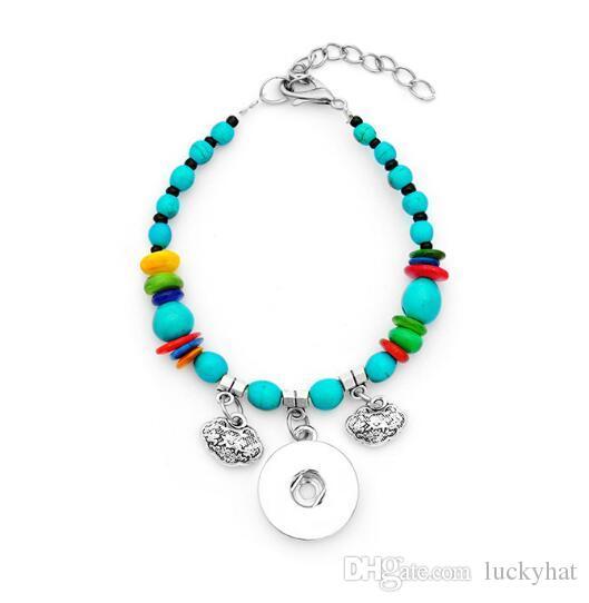 6pcs / lot moda retrò pulsante snap pulsante noosa braccialetto turchese fai da te gioielli fatti a mano misura 18mm fascino bel braccialetto di fascino 5 stile vendita calda