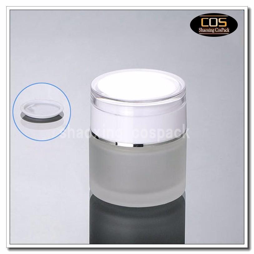 JGX21-50g Glass Cream Container with white cap (1)