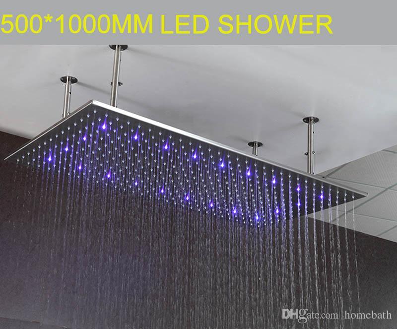 3 색 Led 샤워 헤드 500 * 1000mm 직사각형 수력 led 빛 비 샤워 머리 sus 욕실 비가 샤워