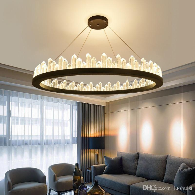 Crystal chandelier lamps modern Nordic chandeliers luxury round designer circular metal living room creative personality lighting