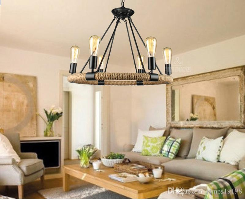 Industial Loft Retro lampade a sospensione Hemp Rope Lampada a sospensione Edison Bulb AC90-260V E27 Loft lampade 6/14 teste luce rotonda E030