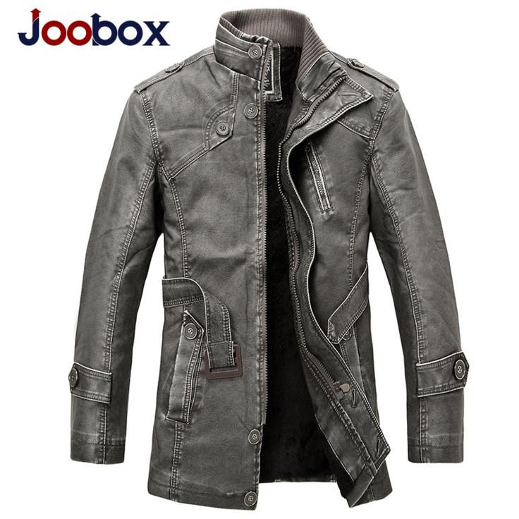 JOOBOX 2018 겨울 오토바이 가죽 자켓 남성 의류 새로운 패션 울 라이너 따뜻한 남성 PU 가죽 자켓 및 코트 회색