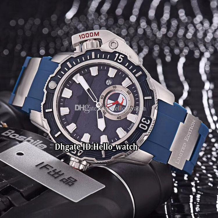 46mm Big Size Date Maxi Marine Diver 3203-500LE-3/93-HAMMER Blue Dial Automatic Mens Watch Steel Case Blue Rubber Strap Sport Wristwatches