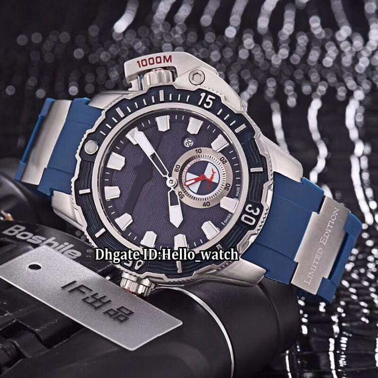 46mm Büyük Boy Tarih Maxi Marine Diver 3203-500LE-3/93-Çekiç Mavi Arama Otomatik Erkek İzle Çelik Kılıf Mavi Kauçuk Kayış Spor Saatı