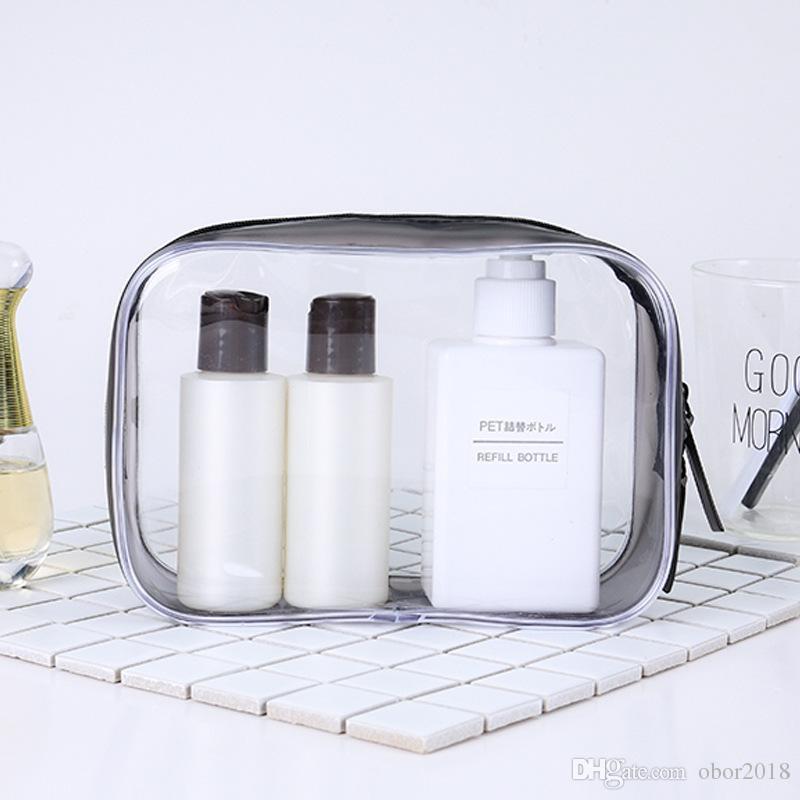 Прозрачный путешествия ПВХ косметические сумки женщины мужчины ясно молнии макияж сумки организатор красоты макияж ванна мыть сумка Сумка Сумка