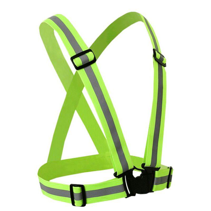 50PCS/LOT Reflective Safety Vest Strips High Visibility Elastic Belt Night Jogging Running Cycling Traffic Safe Work Wear Uniforms