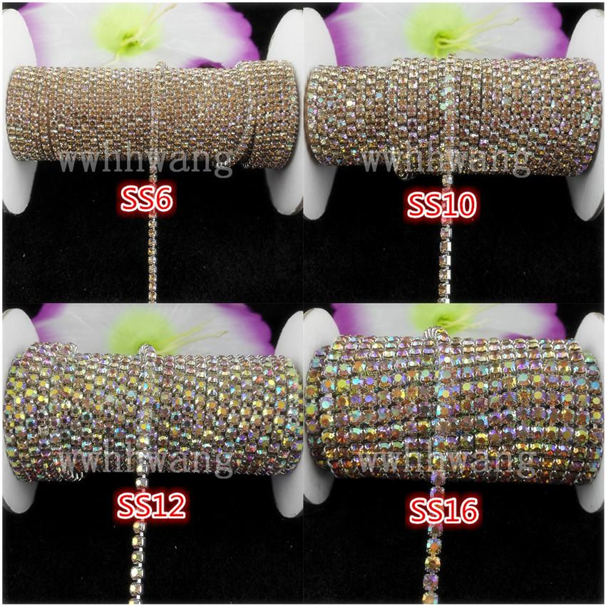 10yards/roll ss6-ss16 Crystal yellow AB rhinestones Crystal glass Rhinestone chain Compact Silver chain for phone,cups,mouse,applique