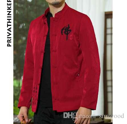 Sinicism Store INS Men Clothes 2018 Mens cotone e lino ricamo causale rosso giacca e cappotto maschile in stile cinese giacca a vento
