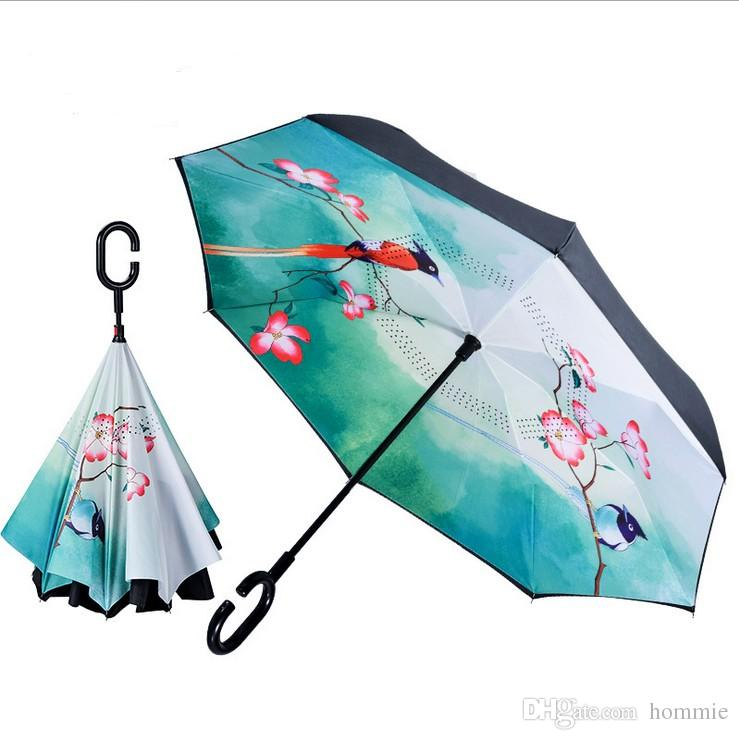 7 colors C Handle Inverted Umbrellas Non Automatic Protection Sunny Umbrella Paraguas Rain Reverse Umbrella Special Design wholesale