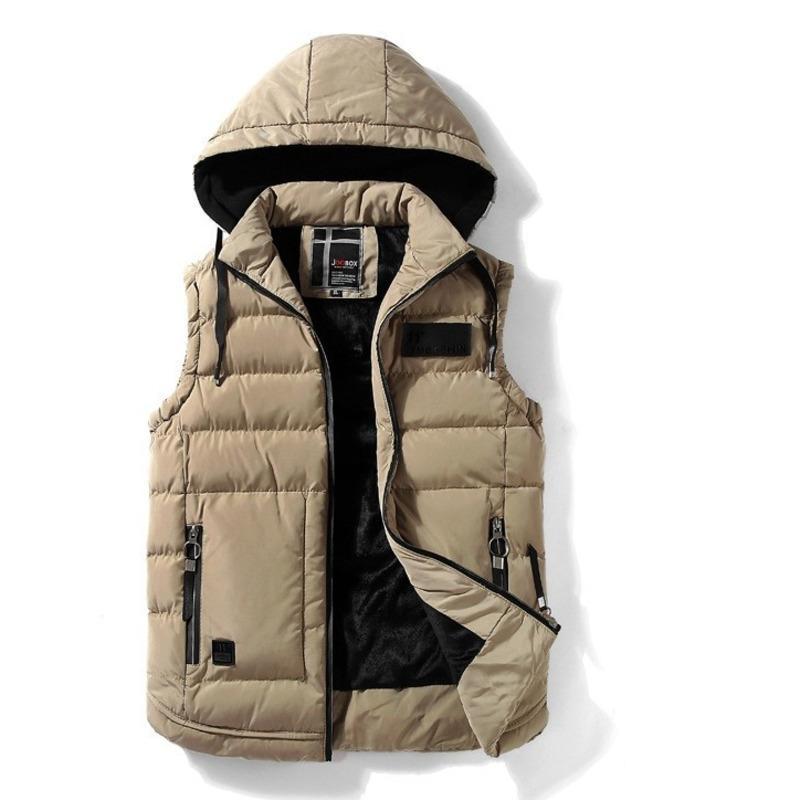 Otoño Invierno mangas de la chaqueta con capucha chaleco de los hombres de algodón acolchado cálido lana forrada Escudo para hombre de la cremallera rebecas Weste L-4XL más el tamaño