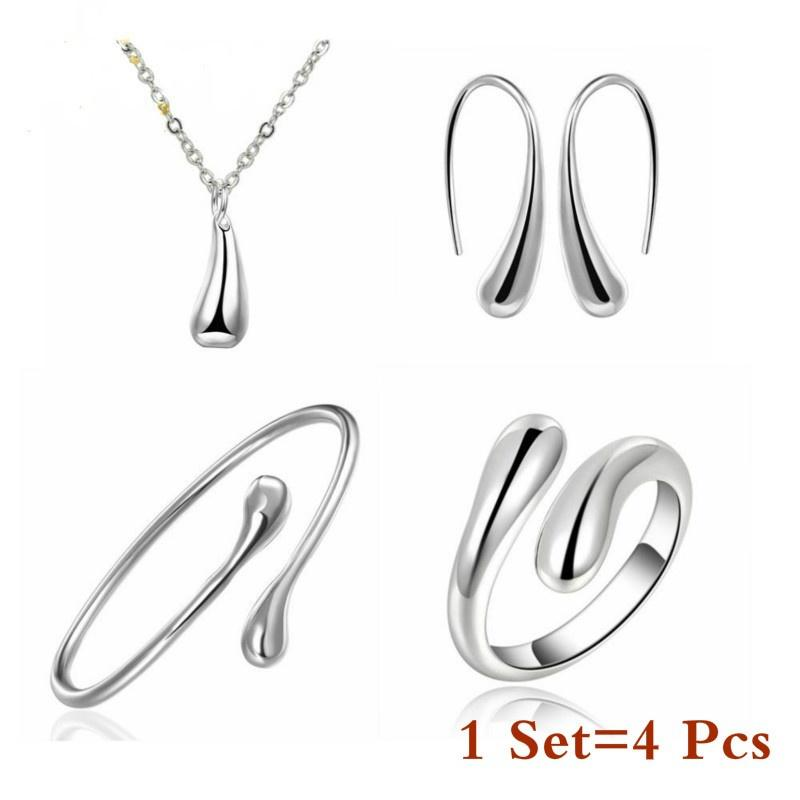 4 pcs S925 silver exquisite necklace earrings bracelet ring set jewelry wholesale sales welcome to buy