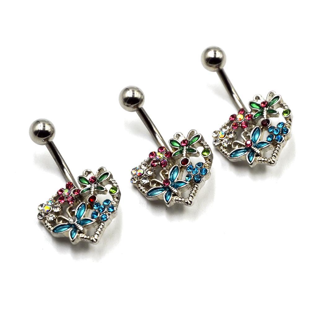 MULTI GEM STONE HEART BELLY BUTTON RING BUTTERFLY /& FLOWER DESIGNED NAVEL BAR