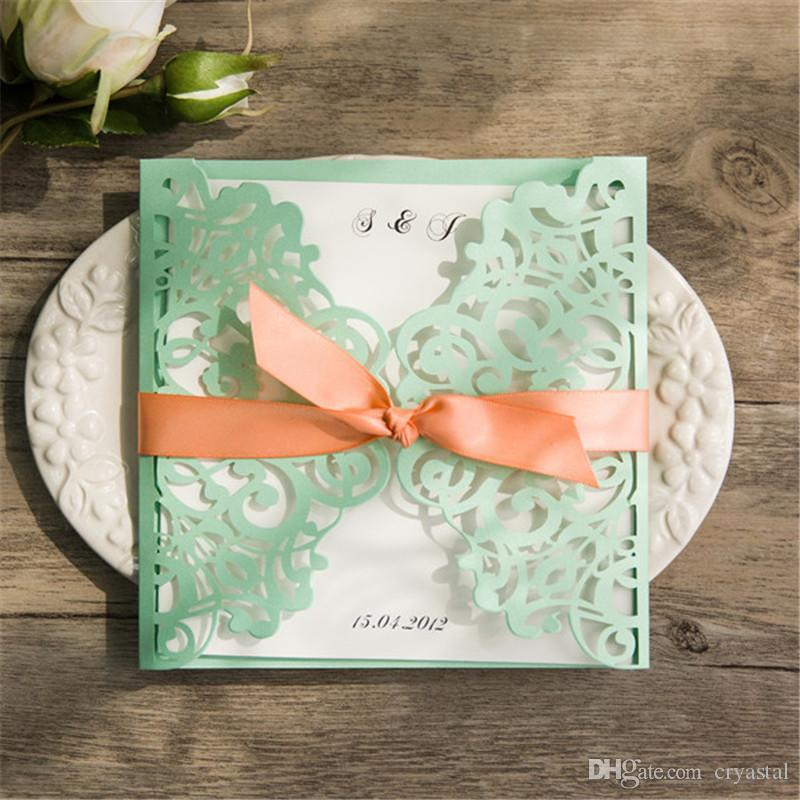 2018 Spring Mint Green And Peach Laser Cut Wedding Invitations With Ribbon Bows T Canada 2019 From Cryastal Cad 1 17 Dhgate Canada