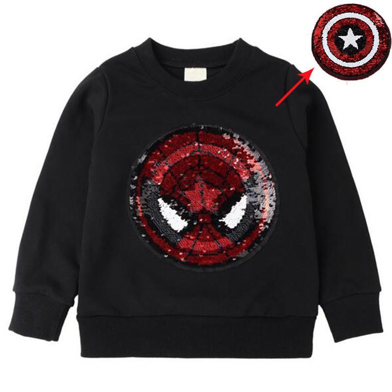 красочные супермен толстовки волшебный обесцвечивание блесток паук мультфильм пайетки футболка для мальчиков и девочек Y1892907