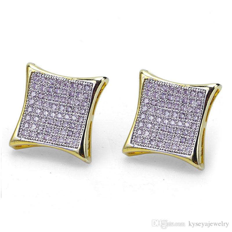 new design fashion street hip hop Hip-hop Men's Ear Nails Gold-plated Microzircon Square Ear Nails Earrings