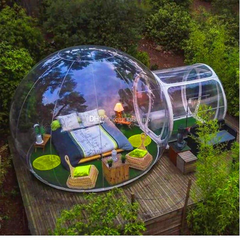 Ücretsiz Kargo Açık Tek Tunne Şeffaf Çadır Kabarcık Şişme Kabarcık Çadır PVC Şeffaf Kamp Çadır Şişme Kabarcık Kamp