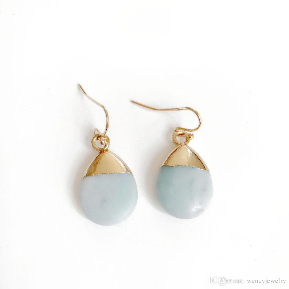 Free Shipping New Cute Teardrop Natural Stone Earring, Fashion Sweet Party Holiday Jewelry For Women